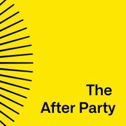 A yellow square with the words THE AFTER PARTY