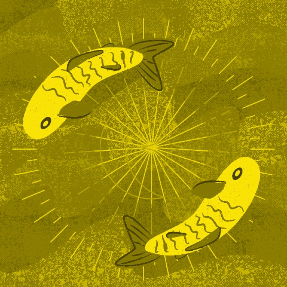 An illustraion of two fish circling each other agains a blue background